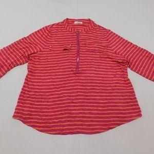 Calvin Klein 1X Pink Orange 1/4 Zip Casual Top  Ra